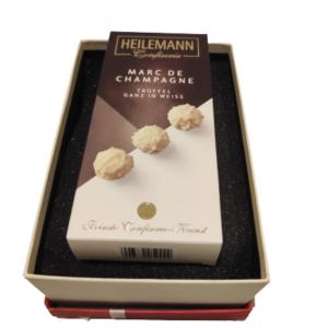 Geschenkbox-Marc de Champagne Trüffel weiß, 100g