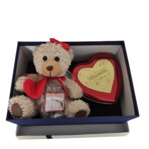 """Geschenkbox-L- Präsentdose """"Von Herzen"""" +Teddybär"""