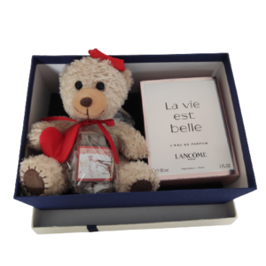 Geschenkbox-Teddy-Schokolade+Lancome-Parfum