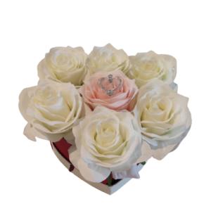 HERZFORM-kÜNSTLICHE-Rose-Weiss-Rosa-Metallherz1-18,5x17x7,5-cm